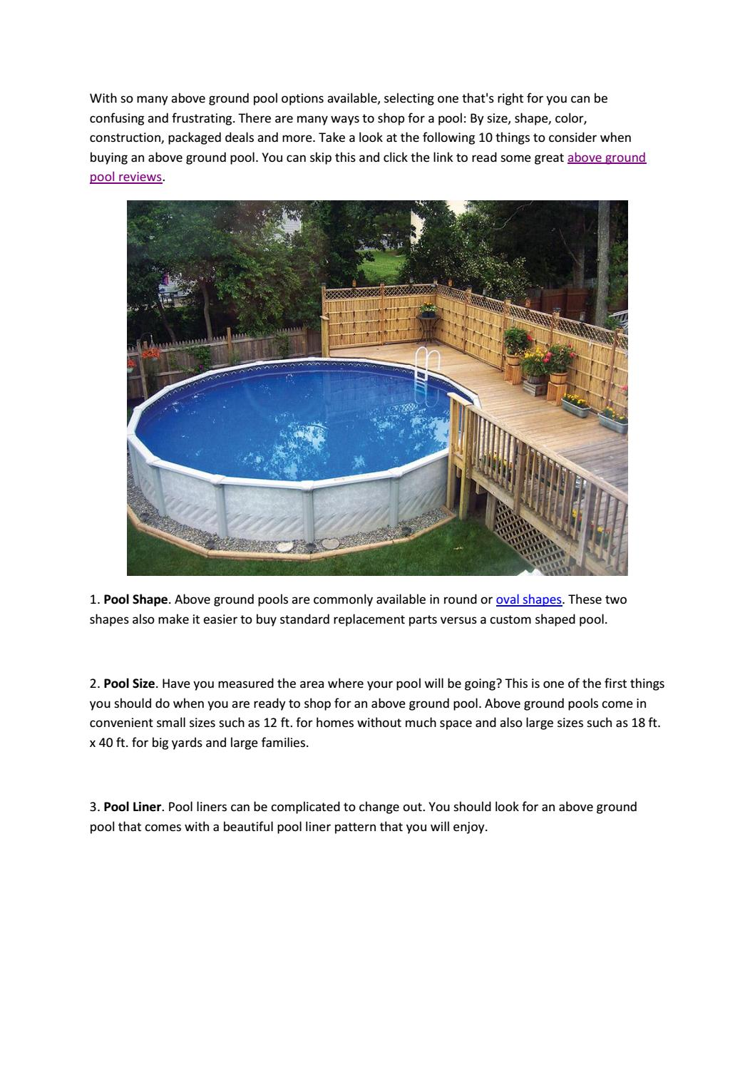 10 Things To Consider When Buying An Above Ground Pool And Some Reviews By Pool Reviews Issuu