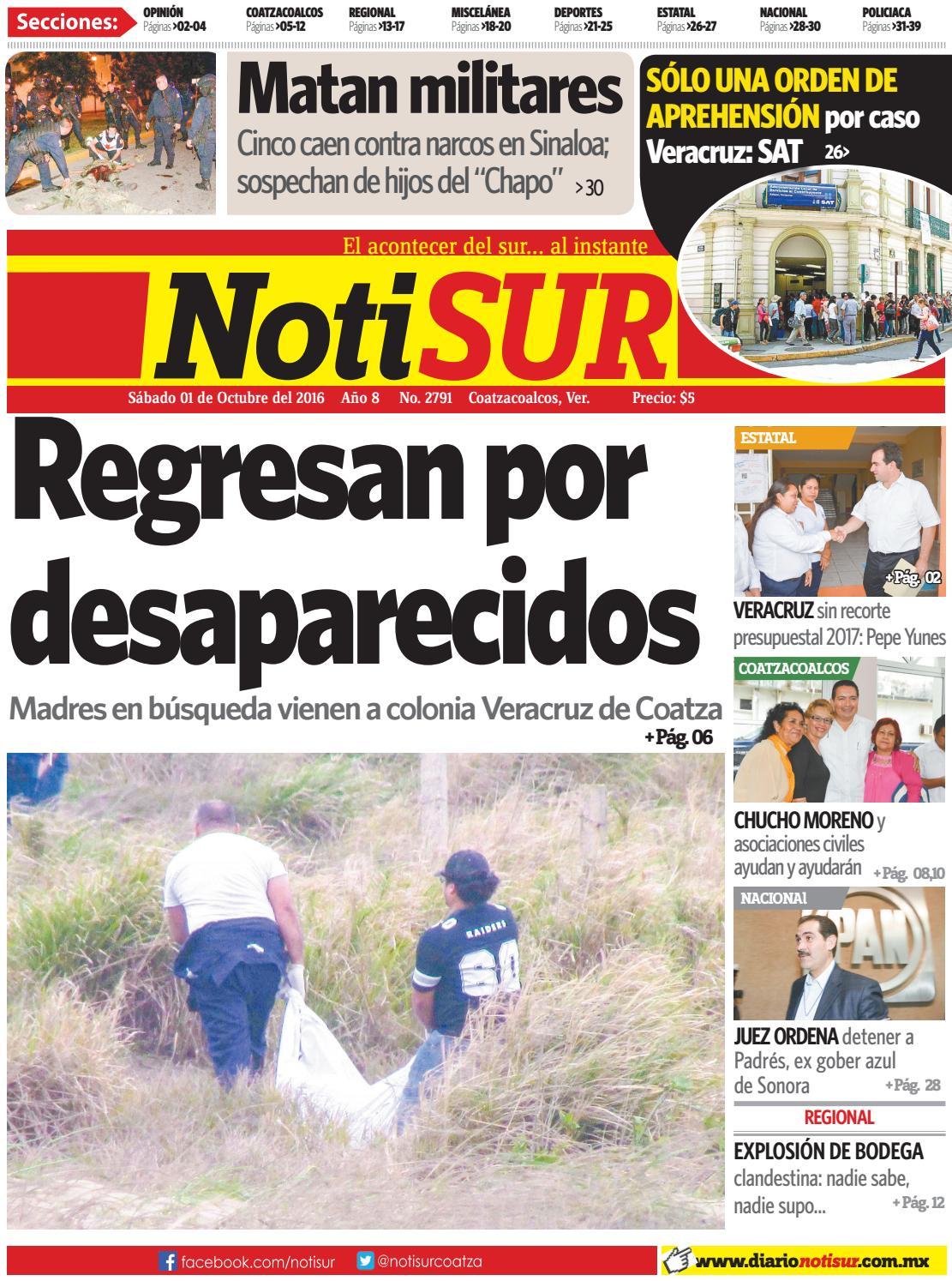 NotiSUR 01 de octubre 2016 by Diario NotiSUR Coatzacoalcos 2015 ...