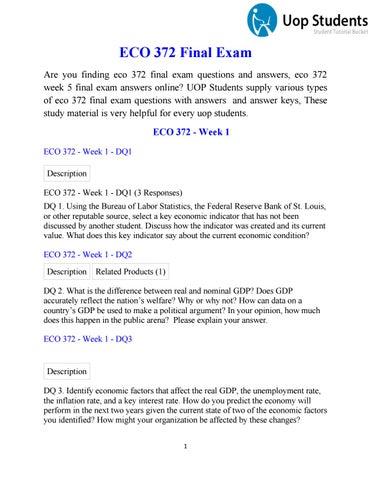 ECO 372 Final Exam - Uop Final Exam Answers ECO 372 - UOP