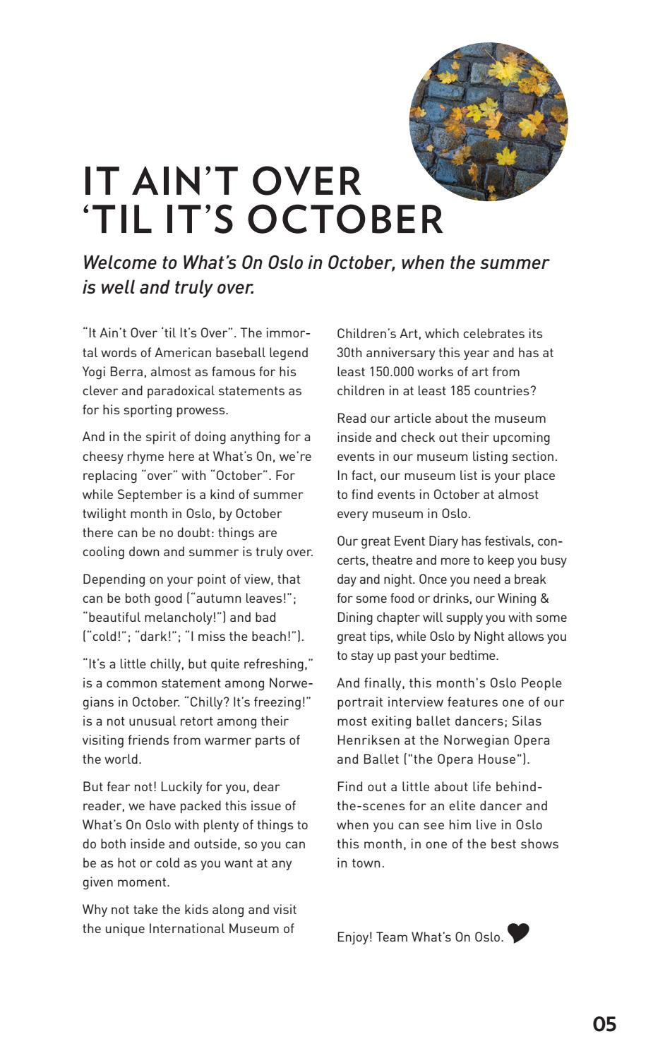 What's on Oslo October 2016 by What's on Oslo - issuu