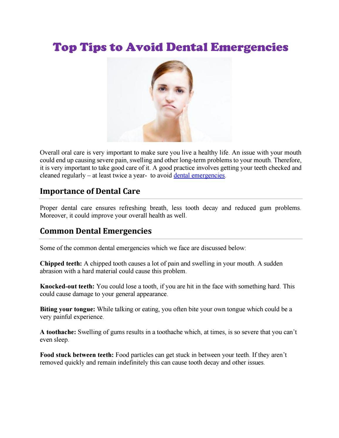 top tips to avoid dental emergencies by wayconbarry issuu