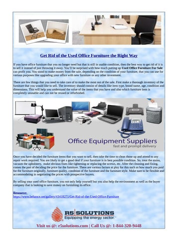 Get Rid Of The Used Office Furniture The Right Way If You Have Office  Furniture That You No Longer Need But That Is Still In Usable Condition,  Then The Best ...