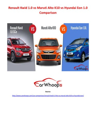 Renault Kwid 1 0 Vs Maruti Alto K10 Vs Hyundai Eon 1 0 Comparison By