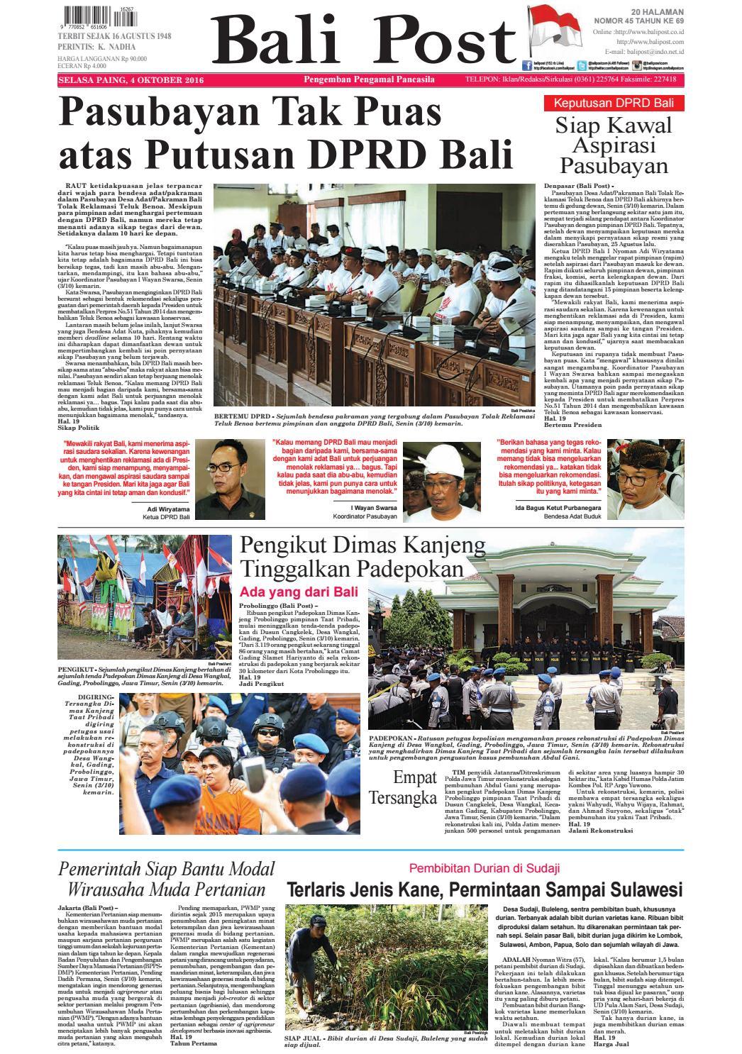 Edisi 04 Oktober 2016 | Balipost com by e-Paper KMB - issuu