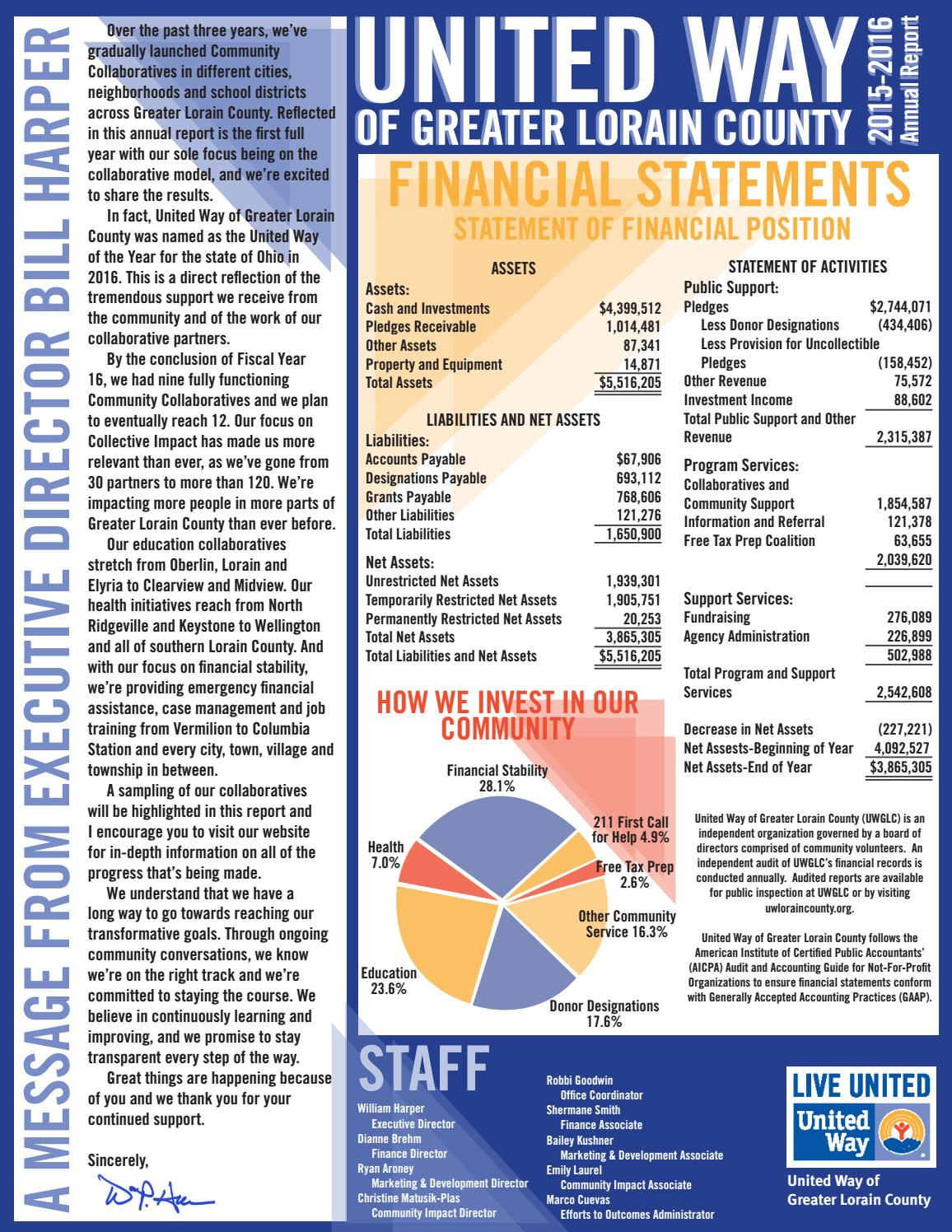 2015-16 united way of greater lorain county annual report by ryan