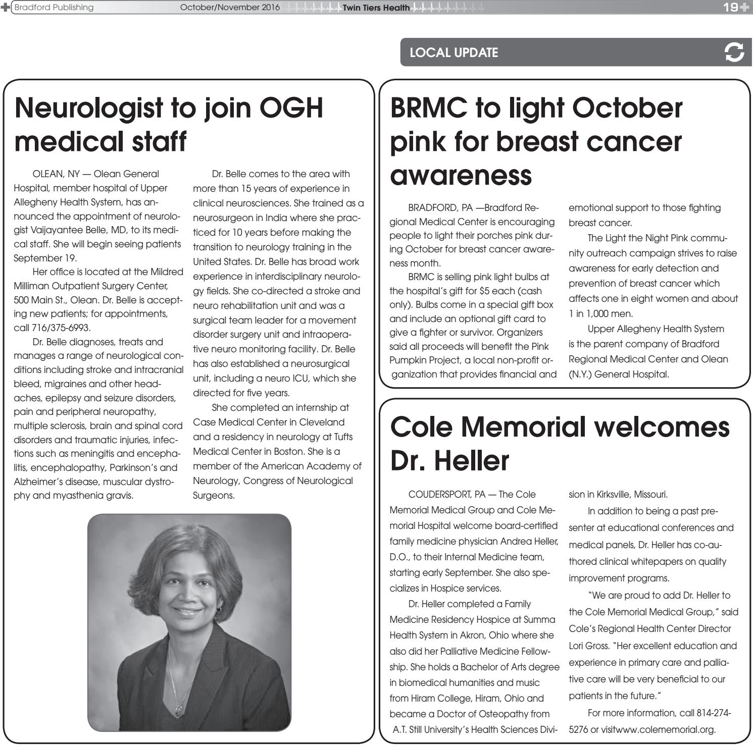 Twin Tiers Health - October 2016 by Bradford Publishing - issuu