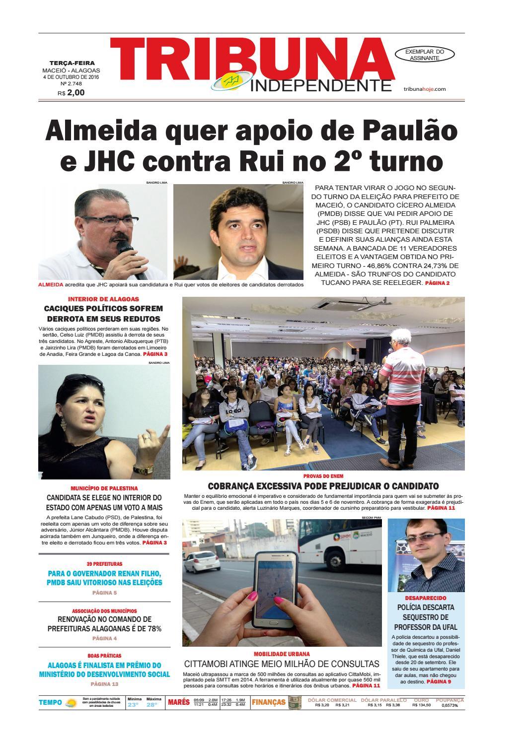 Edição número 2748 - 4 de outubro de 2016 by Tribuna Hoje - issuu 0f432957f7