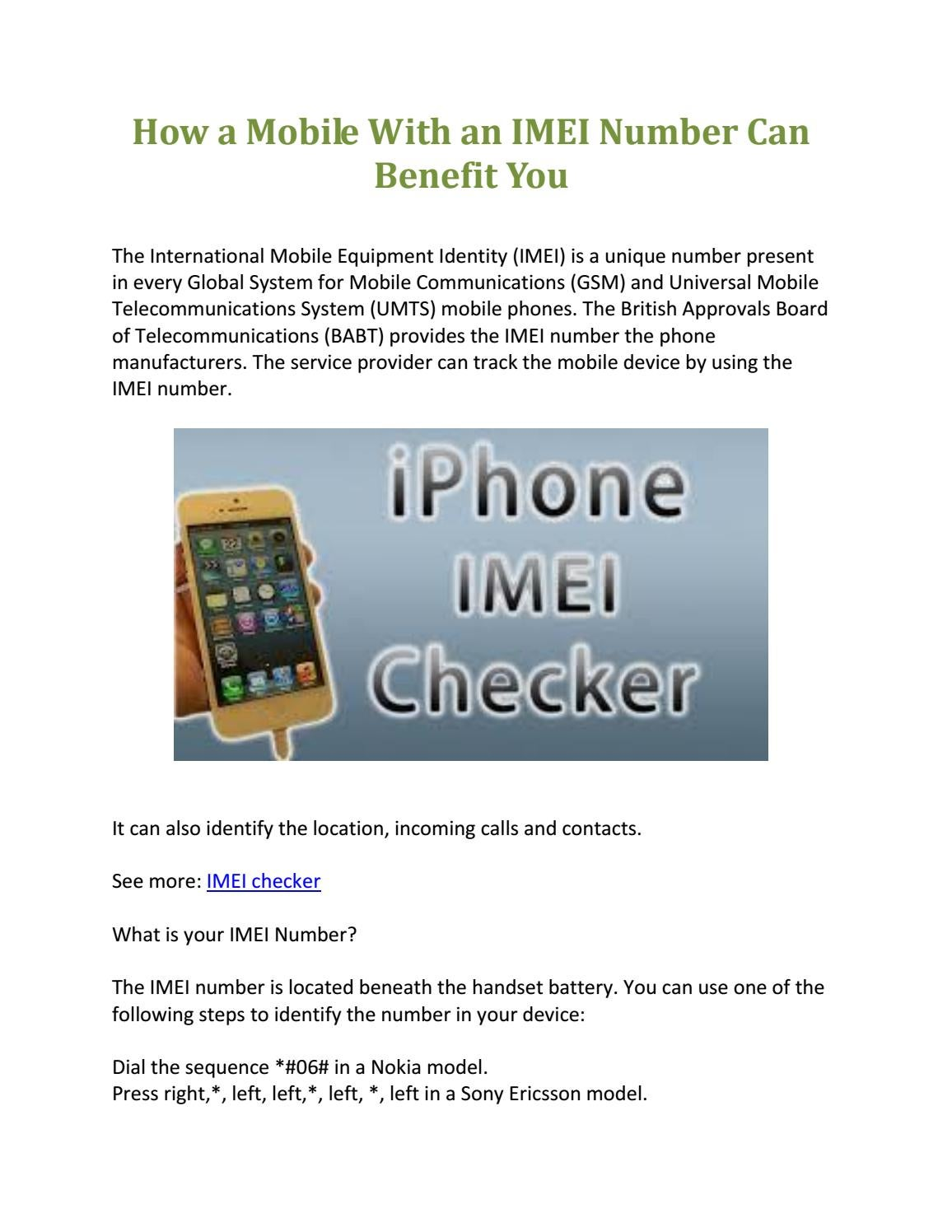 How a mobile with an imei number can benefit you by Shainy