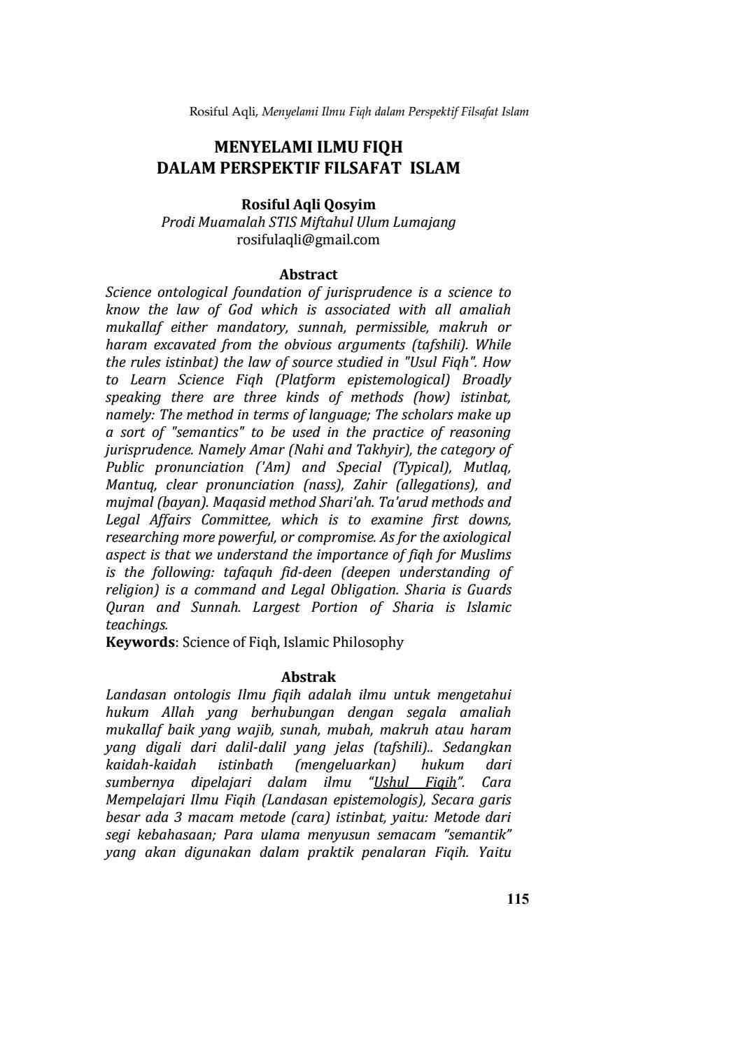 Menyelami Ilmu Fiqh Dalam Perspektif Filsafat Islam By Qolamuna Jurnal Studi Islam Issuu