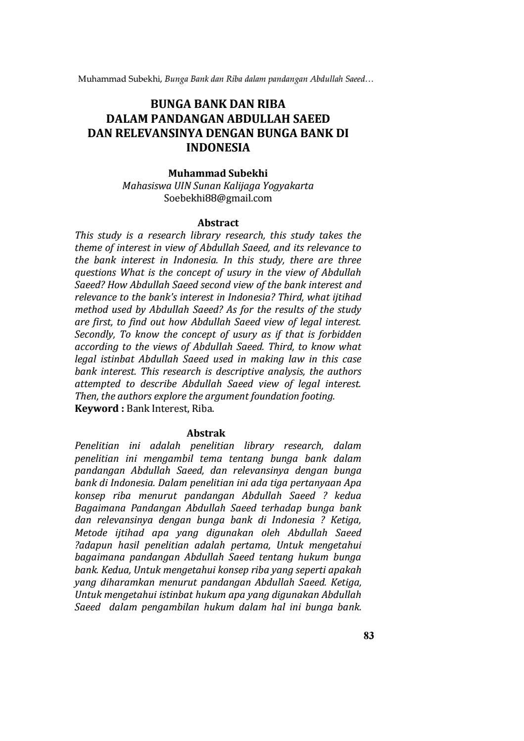 Bunga Bank Dan Riba Dalam Pandangan Abdullah Saeed Dan Relevansinya Dengan Bunga Bank Di Indonesia By Qolamuna Jurnal Studi Islam Issuu