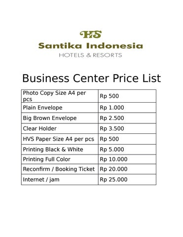 business center price list by ardhea galuh issuu