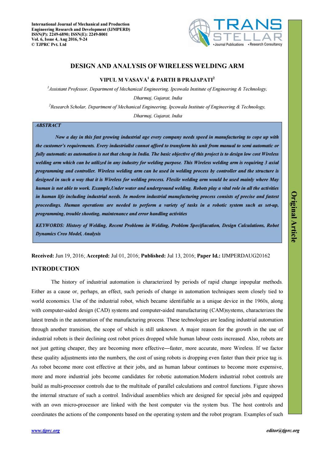 2 ijmperd design and analysis of wireless welding arm by