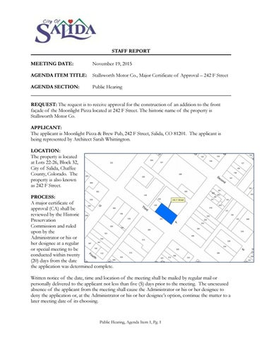 Writing Example Historic Preservation Commission Staff Report By