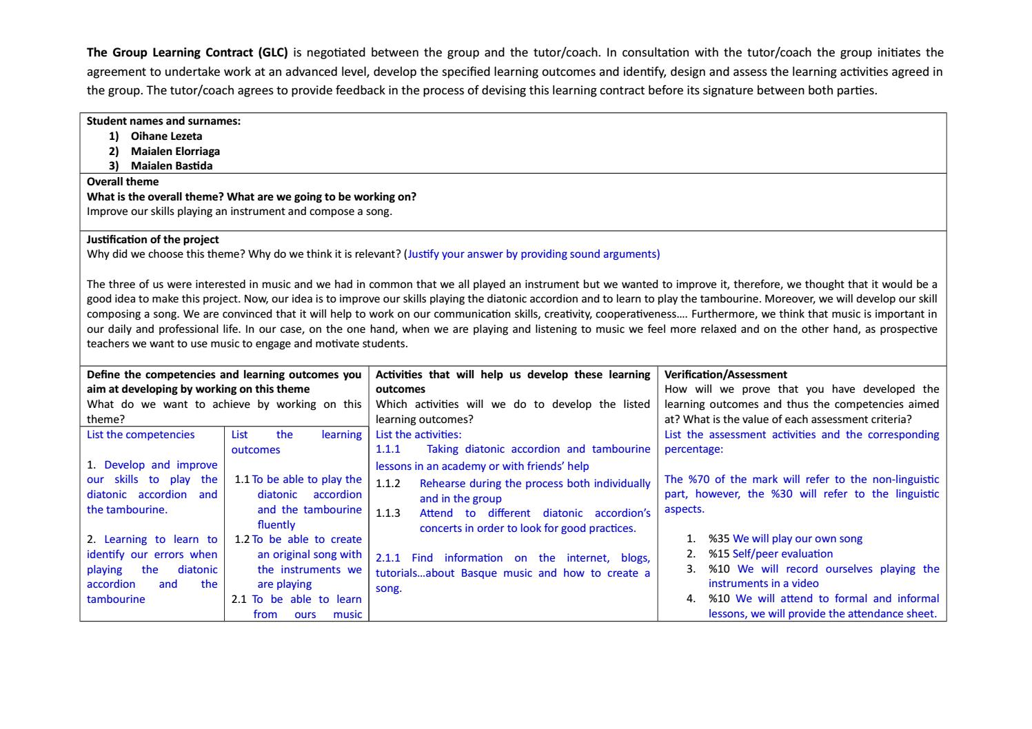 Group learning contract template maialen, oihane, maialen b