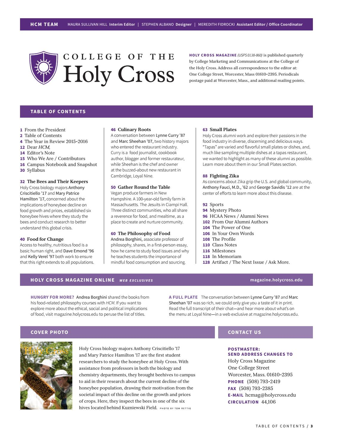 Holy Cross Magazine - Fall 2016 by College of the Holy Cross - issuu