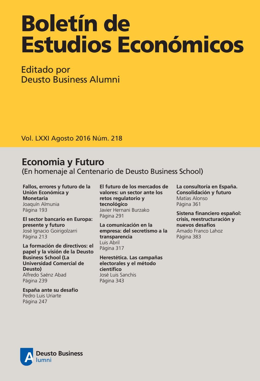 Boletín de Estudios Económicos. Agosto 2016. Num. 218 by Deusto ...