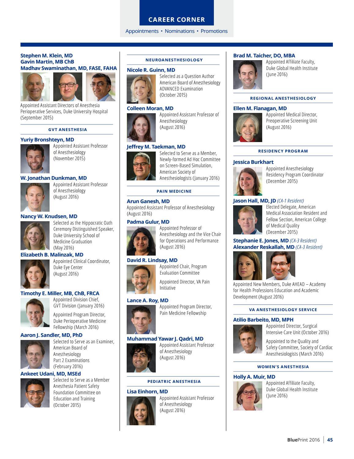 2016 blueprint by duke anesthesiology issuu malvernweather Choice Image