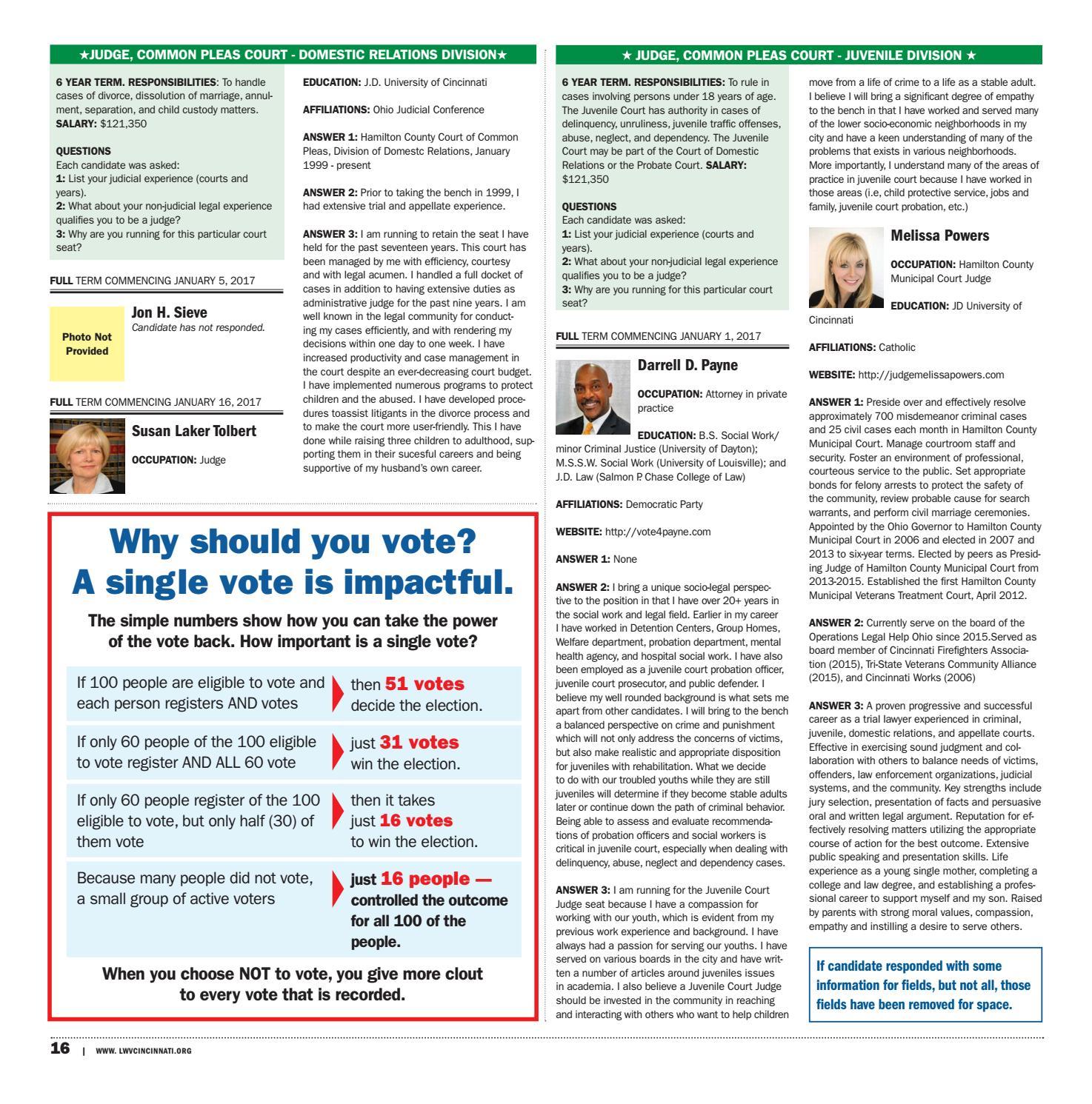 League of Women Voters 2016 Election Guide by Cincinnati CityBeat
