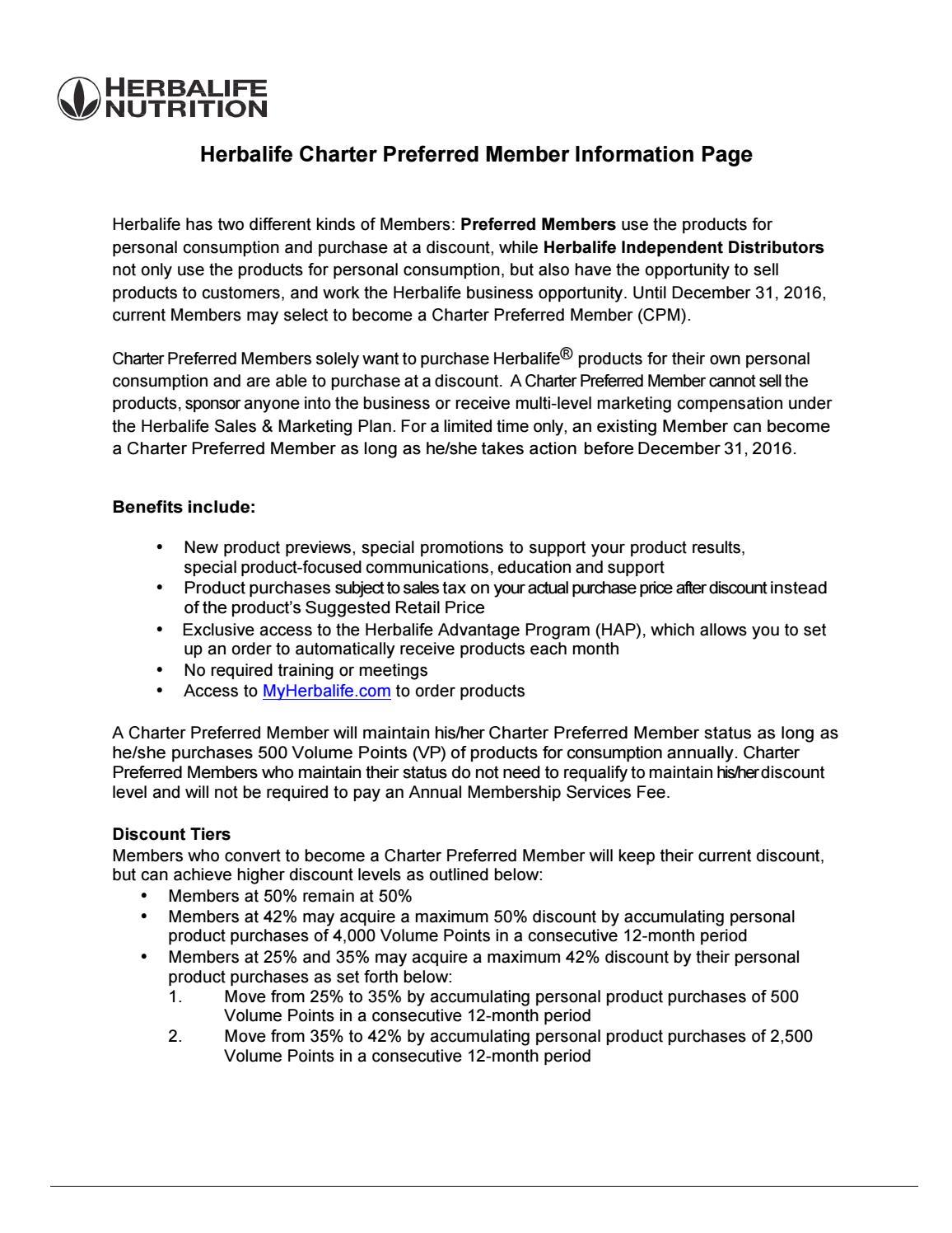 Herbalife Charter Preferred Member Information   https ...