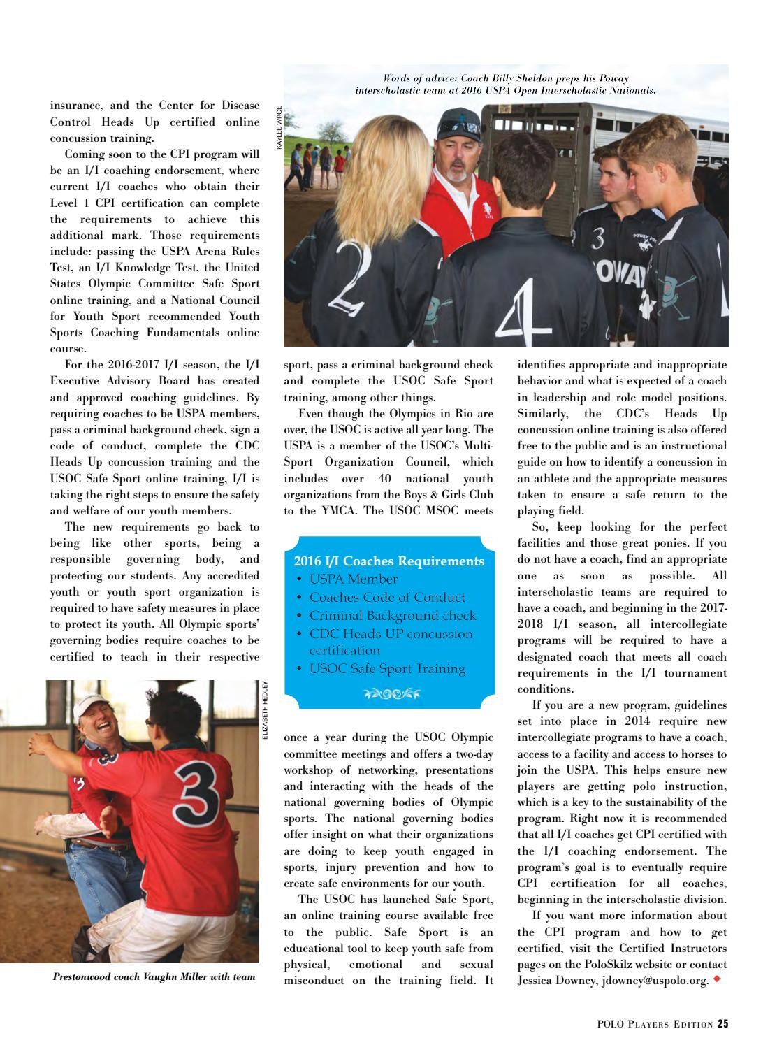 October 2016 Polo Players Edition By United States Polo Association