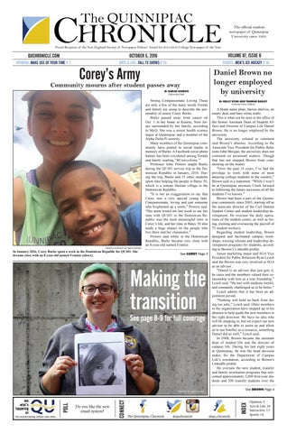 The Quinnipiac Chronicle, Issue 6, Volume 87 by The Quinnipiac