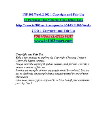 Inf 103 Week 2 Dq 1 Copyright And Fair Use Inf103mart By
