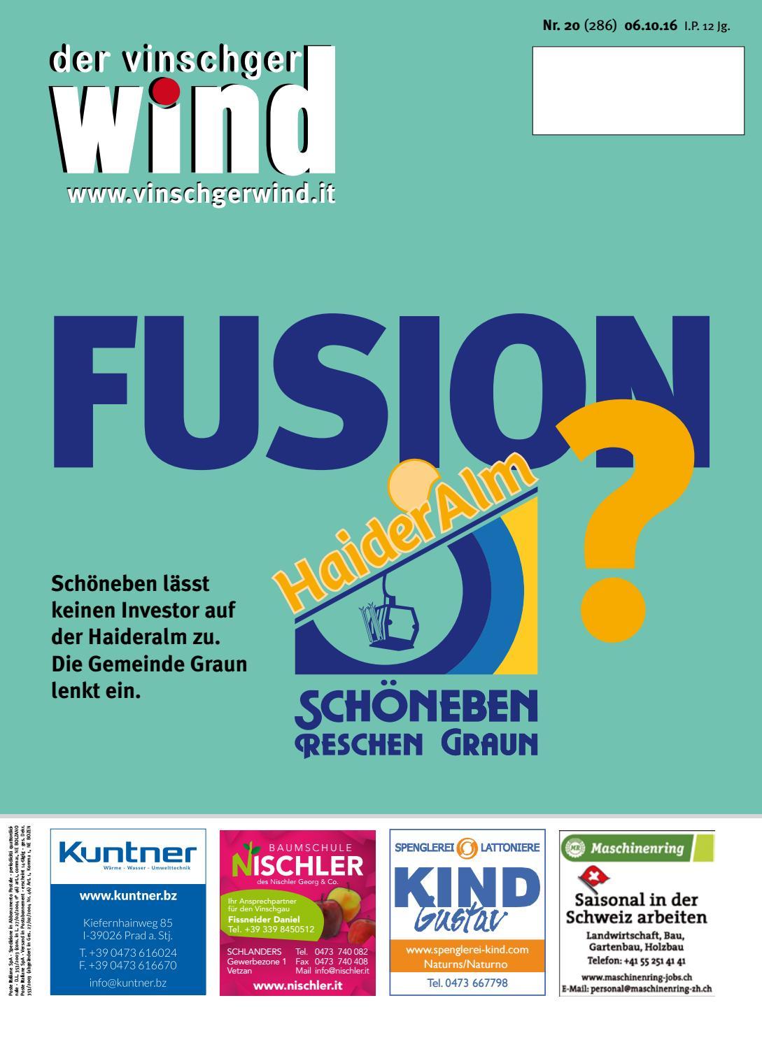 Zeitung Vinschgerwind Ausgabe 20-16 by Vinschgerwind - issuu