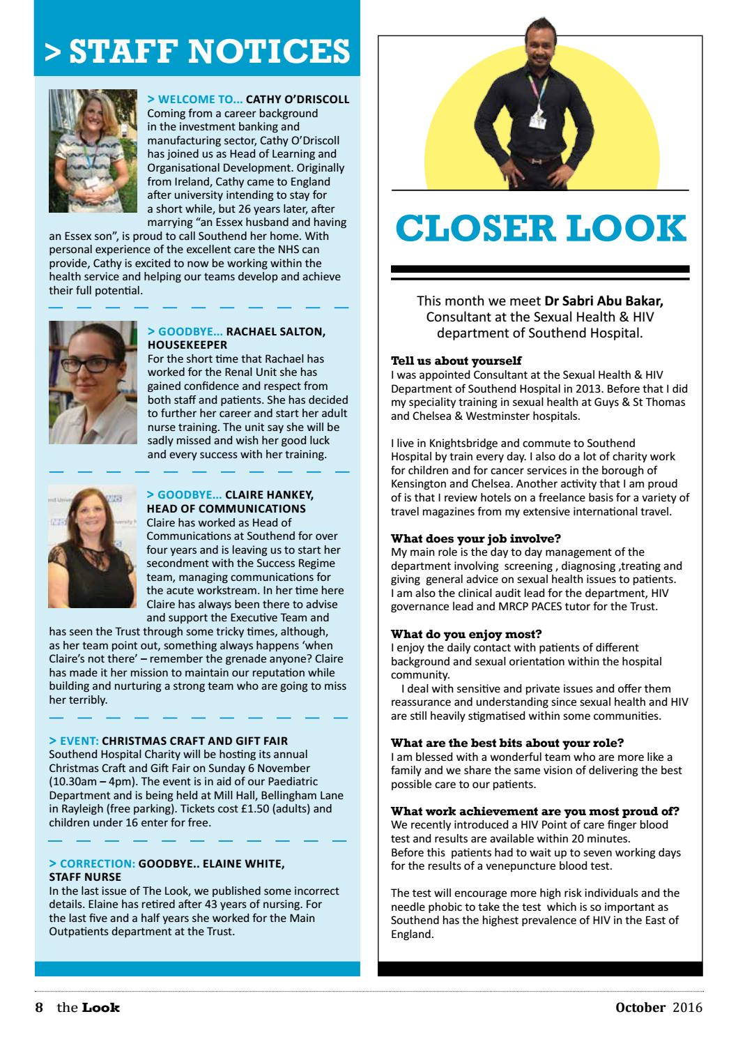 The Look, October 2016 by Southend University Hospital NHS Foundation Trust  - issuu