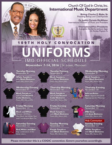 2016 HOLY CONVOCATION UNIFORM SCHEDULE for COGIC IMD by Ron Briggs