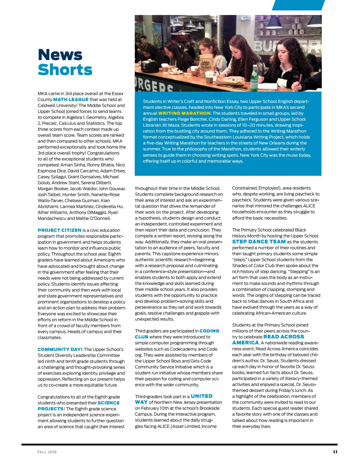 Fall 2016 Review Magazine by Montclair Kimberley Academy - issuu