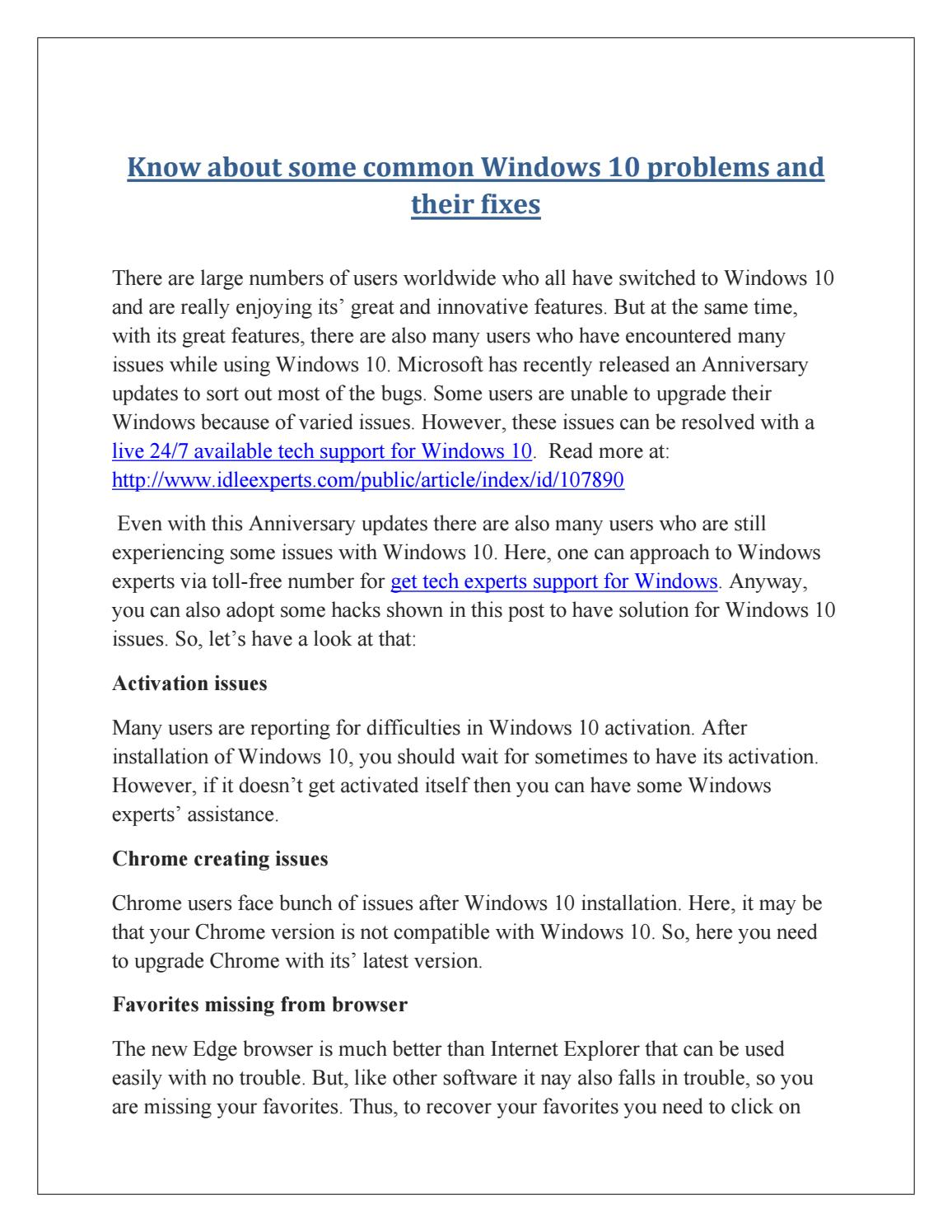 Know about some common windows 10 problems and their fixes