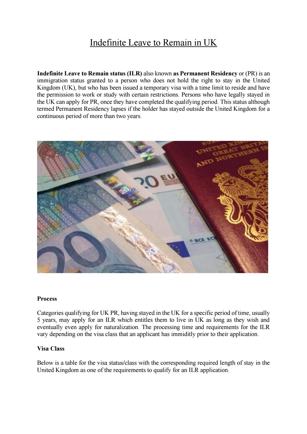 Indefinite leave to remain in uk by ViraUK - issuu