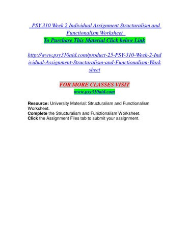 Psy 310 week 2 individual assignment structuralism and