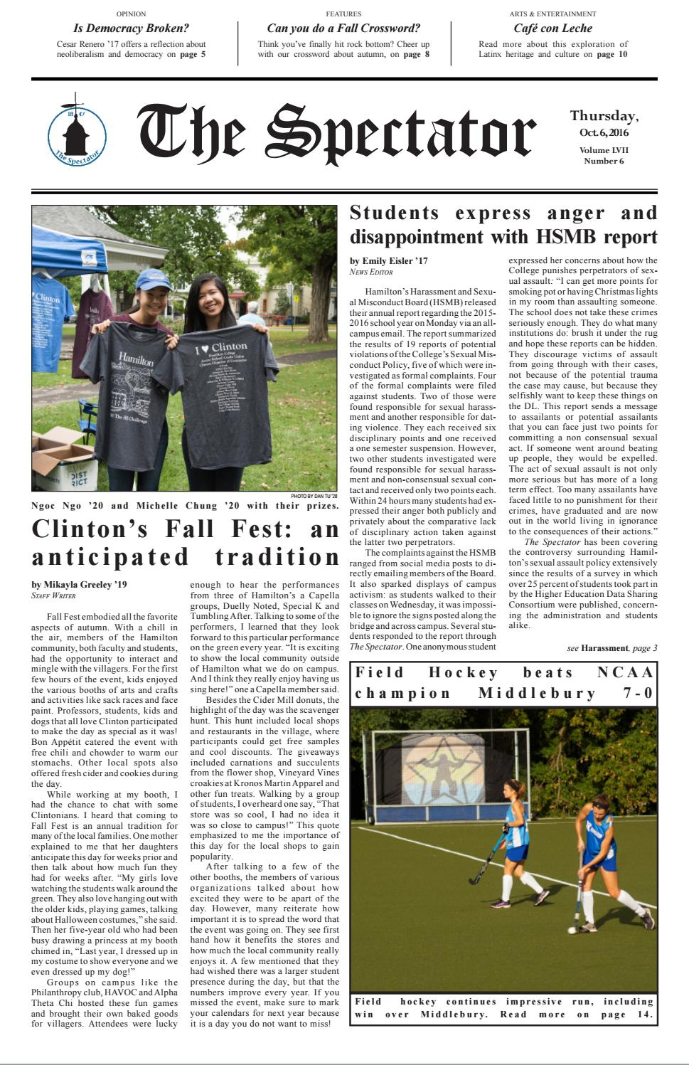 October 6, 2016 by Hamilton College Spectator - issuu
