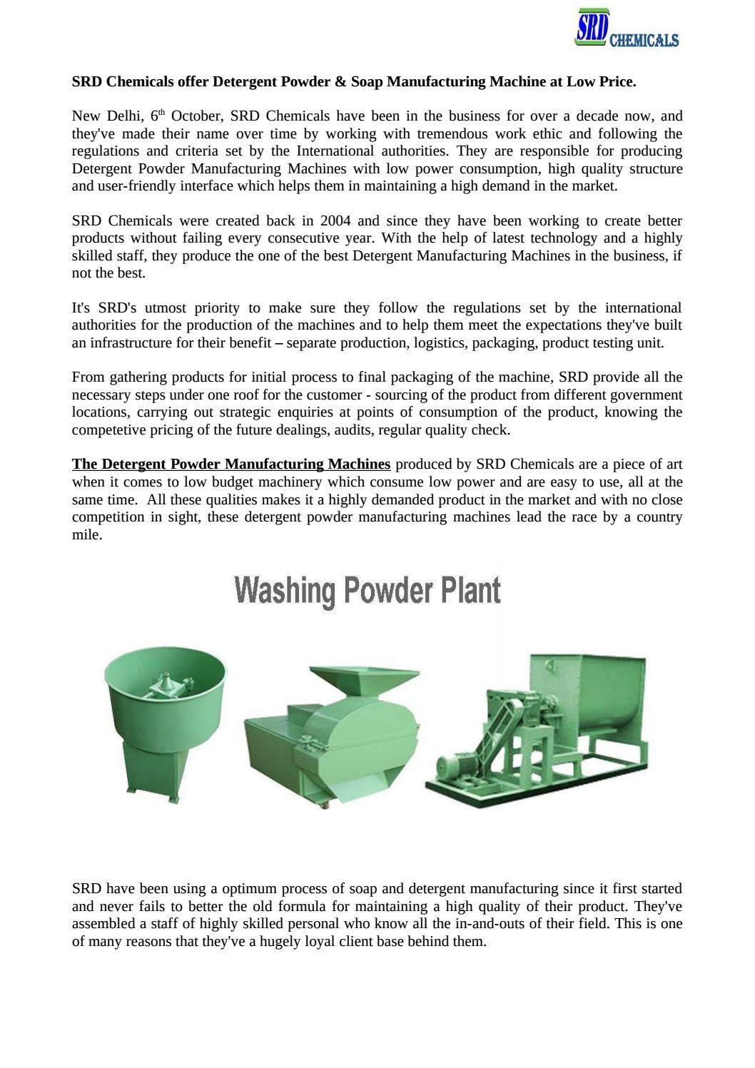 Srd chemicals offer detergent powder & soap manufacturing