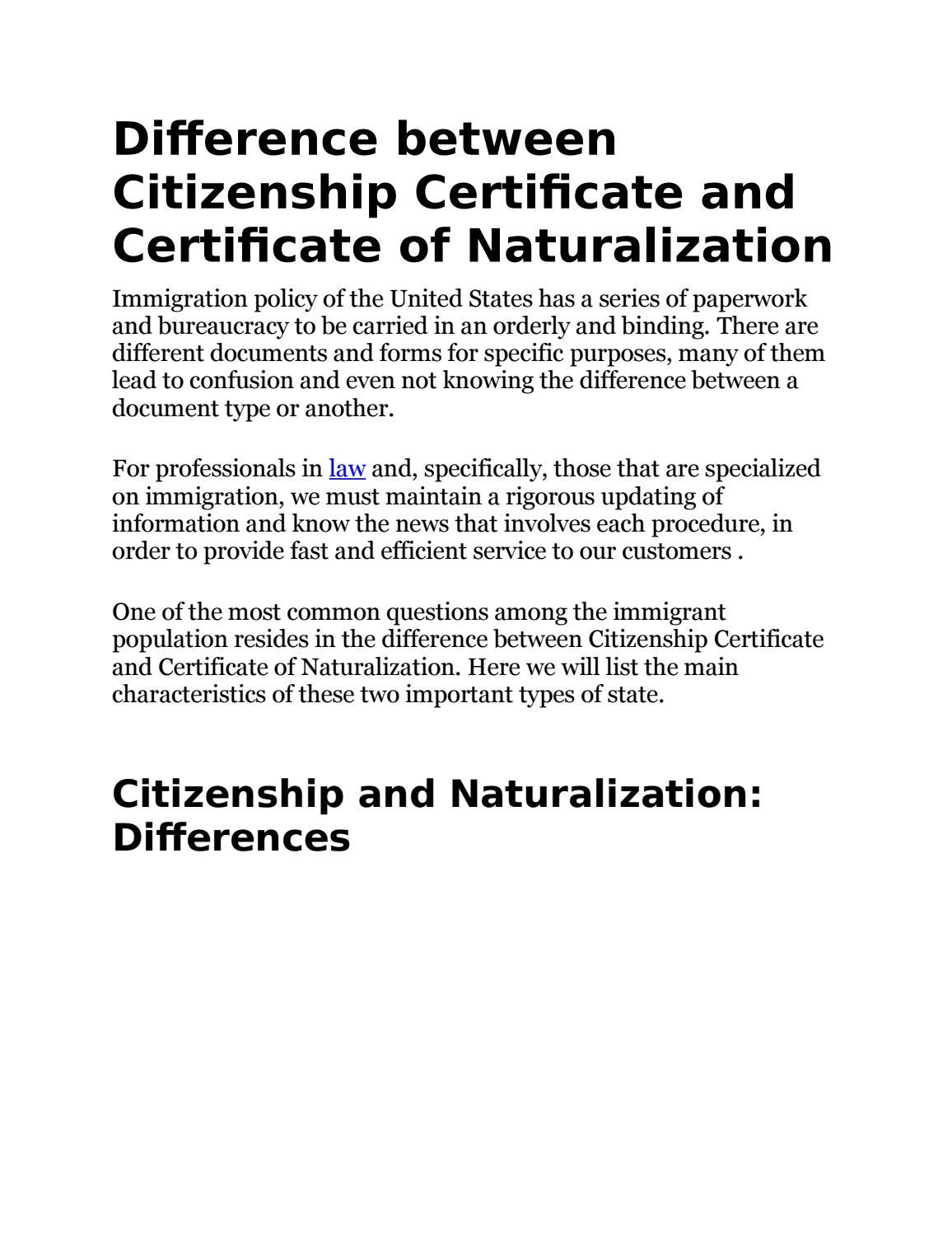 Difference Between Citizenship Certificate And Certificate Of