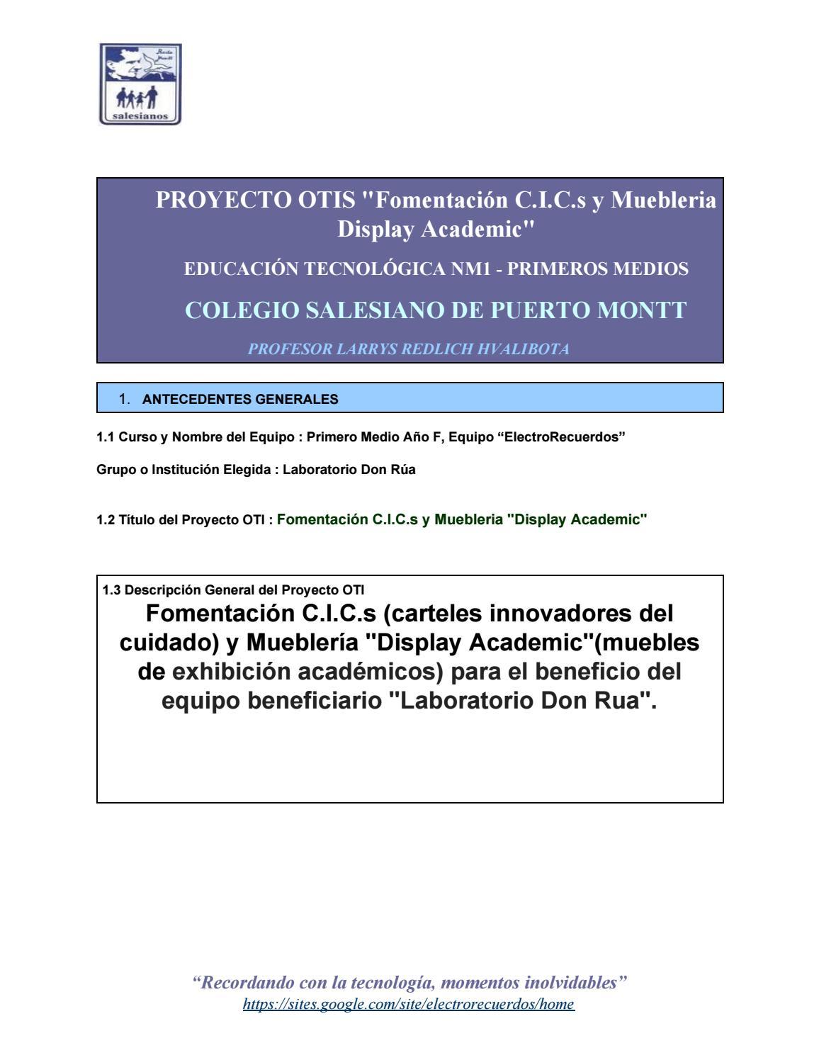2016 1f Electrorecuerdos 34 Proyecto Otis Fomentaci N C I C S Y  # Analisis Dafo Muebles