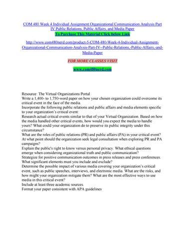 Com 480 week 4 individual assignment organizational communication