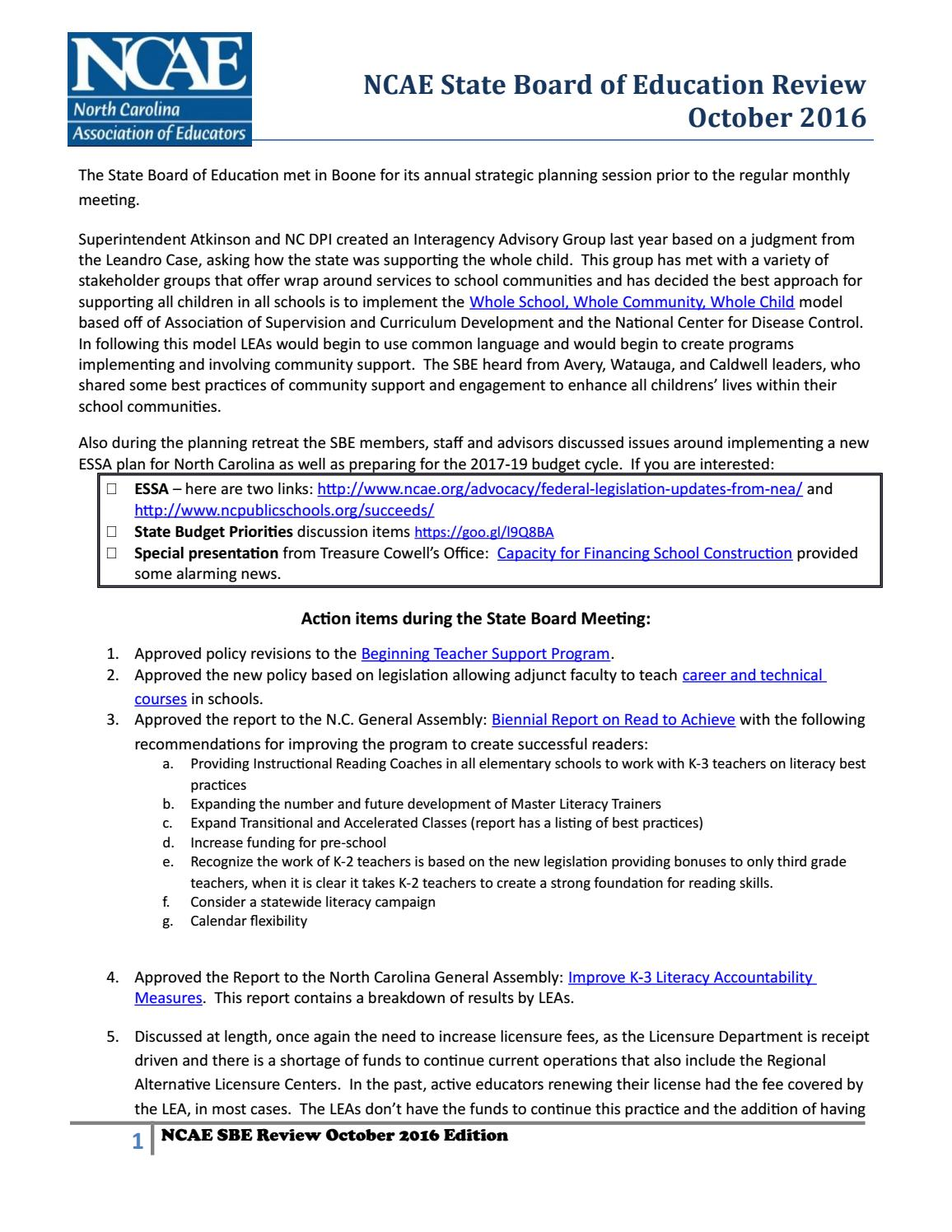 Teacher license renewal nc michaelkorsus ncae october 2016 state board review by ncae issuu teacher license renewal nc xflitez Image collections