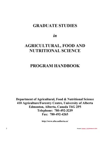 AFNS Grad Handbook by University of Alberta - Faculty of