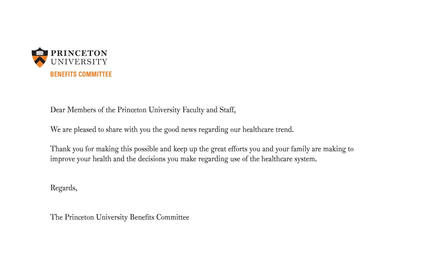 Benefits committee cover letter 2017 by princeton for Cover letter for benefit cosmetics