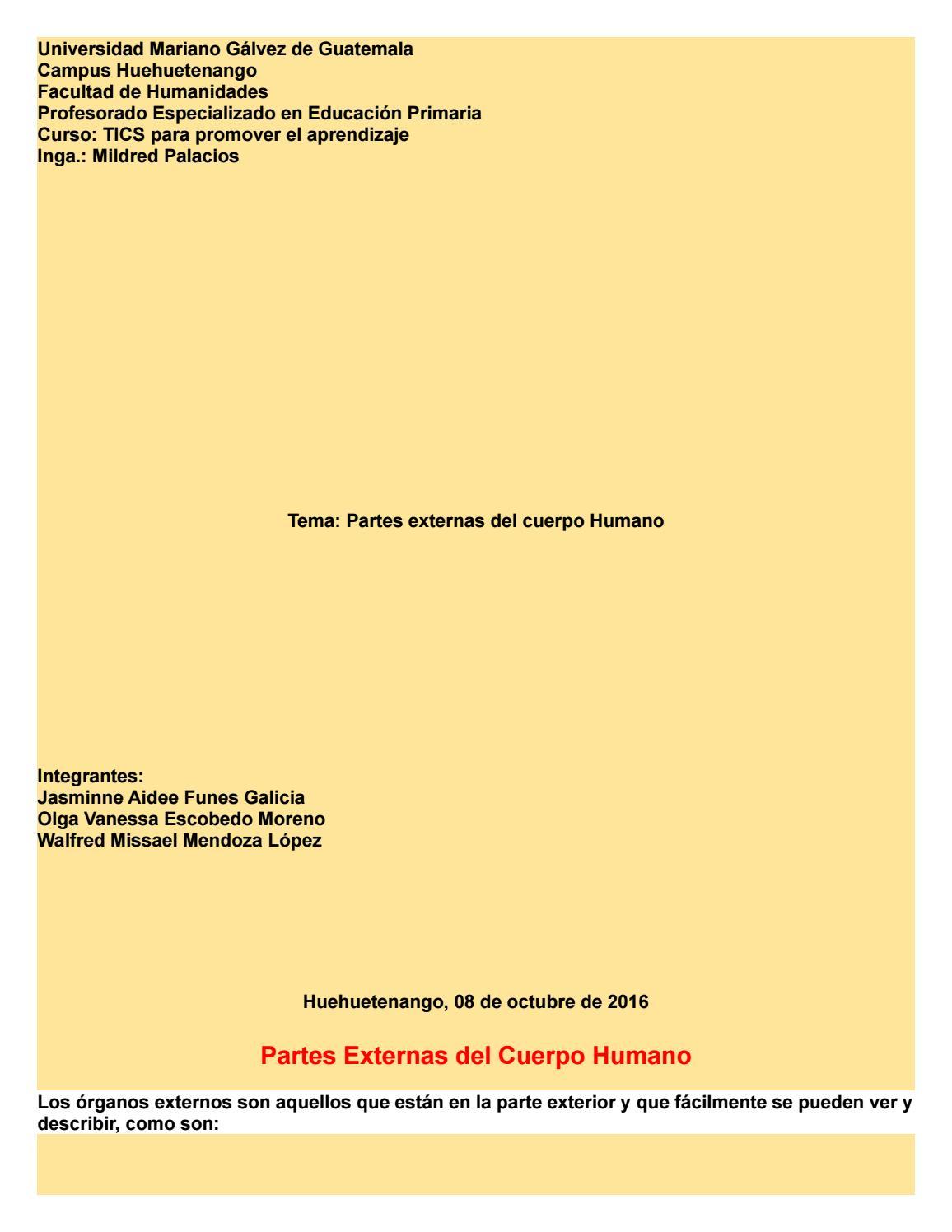 Revista de partes externas del cuerpo humano by Jasminne Galicia - issuu