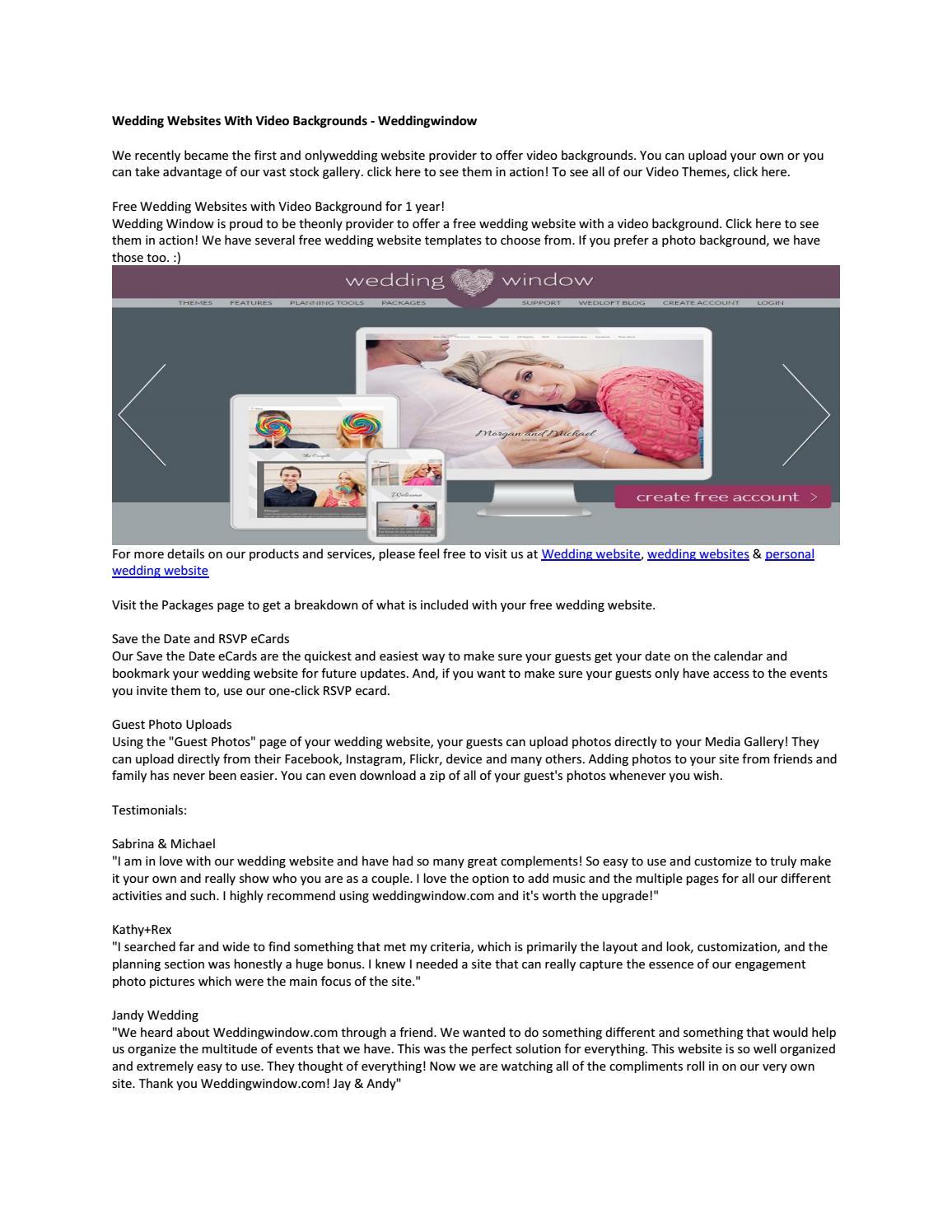 Wedding Websites With Video Backgrounds Weddingwindow By Personalweddingwebsites Issuu