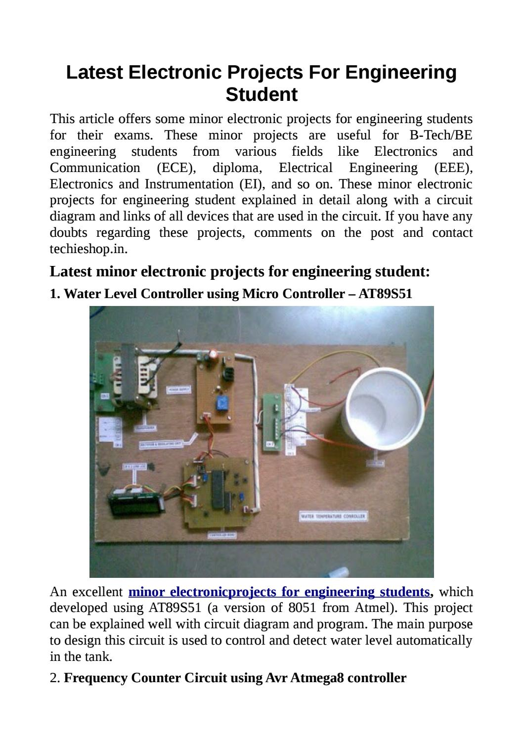 Latest Electronic Projects For Engineering Student By Techieshop Issuu Electronics Project Circuit Diagram