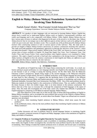 English To Malay Bahasa Melayu Translation Syntactical Issues Involving Time Reference By Invention Journals Issuu