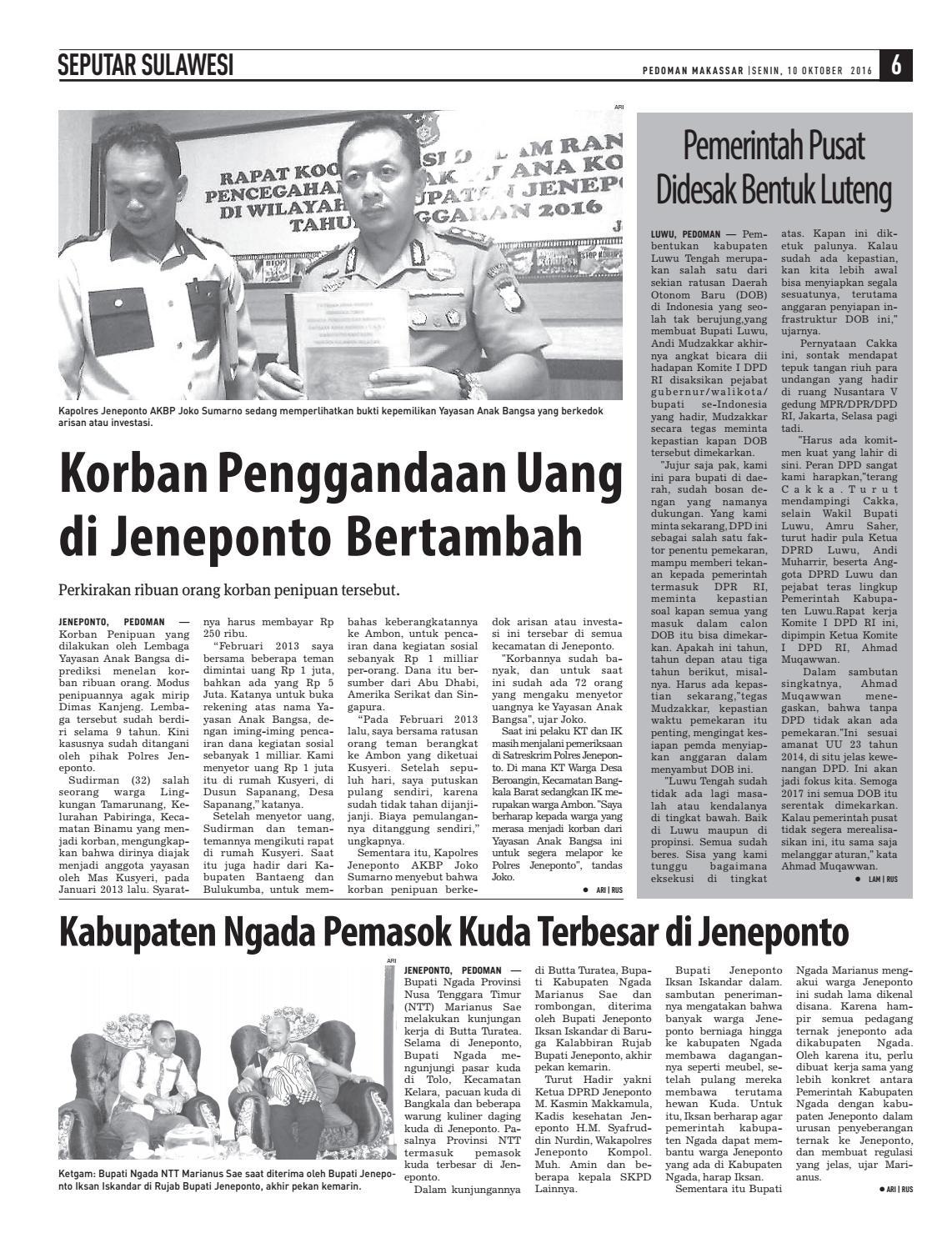 Edisi 67 10 Oktober 2016 Pedoman Makassar By Pedoman Makassar