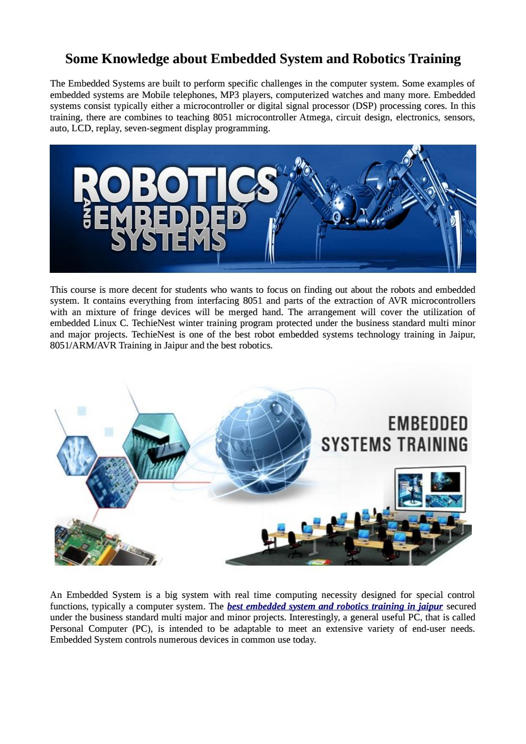 Some Knowledge About Embedded System And Robotics Training By Techienest Issuu