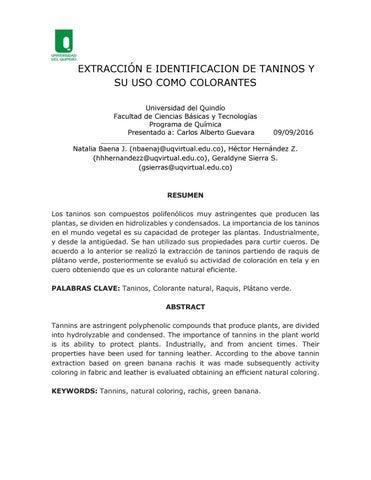 Extracciòn de taninos by Geraldyne Sierra Sierra - issuu