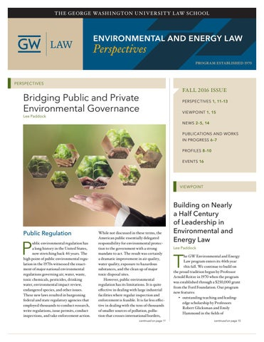 Environmental And Energy Law Perspectives Fall 2016 By The George