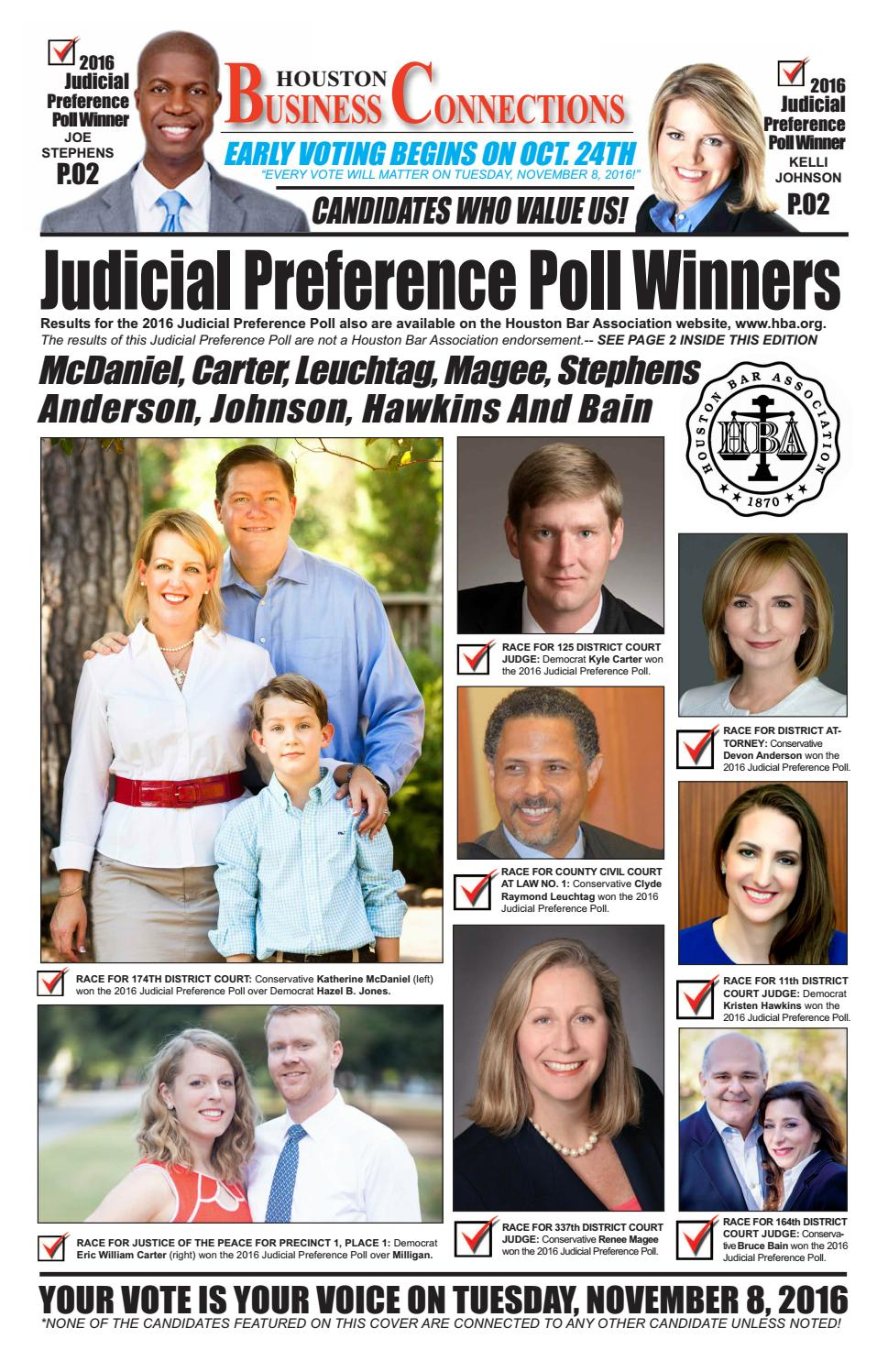 District judge 174th judicial district - 2016 Houston Bar Association Judicial Preference Poll Published Inside Houston Business Connections By Aubrey R Taylor Communications Issuu